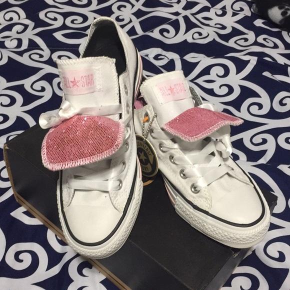 White   Pink Glitter Converse Size 7 0a6dbf9f2